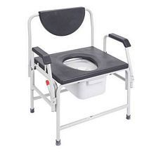 Bariatric Drop Arm Bedside Commode Seat w/ Black