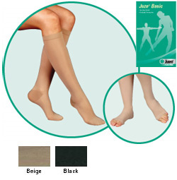 JUZO Basic Pantyhose w/ Elastic - 20-30mmhg (Open Toe, Short Length)