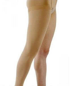 500 Natural Rubber Series - Unisex Thigh-High Open Toe Stockings w/ Waist Attachment - 30 - 40mmHg