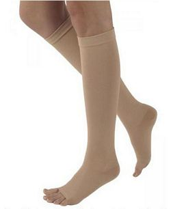 500 Natural Rubber Series - Unisex Calf-High Open Toe Stockings - 40 - 50mmHg