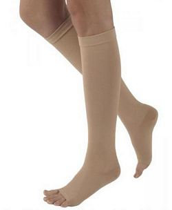 500 Natural Rubber Series - Unisex Calf-High Open Toe Stockings - 50 - 60mmHg