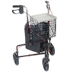 Deluxe 3 Wheel Aluminum Rollator, 8 in. Casters and Basket