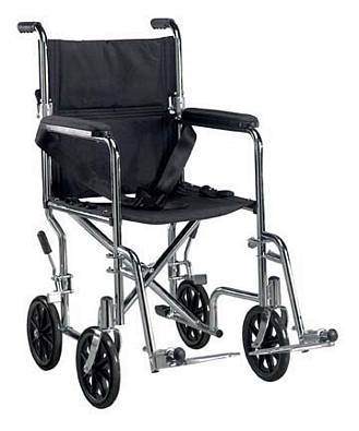 Drive Medical Deluxe Go-Kart Transport Chair with Chrome Finish
