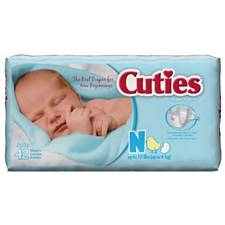 Cuties Baby Diapers - Newborn, Up To 10 Lbs. (42/Pack)