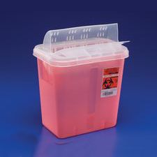 Sharps Disposal Container with Horizontal-Drop Opening Lid