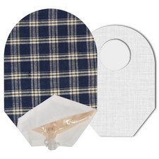 C&S Ostomy Pouch Covers - Blue Plaid (Open End)