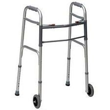 Adjustable Folding Walker with Wheelstand and Two Button Release