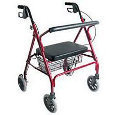 Extra-Wide Heavy-Duty Steel Bariatric Rollator (Burgundy)