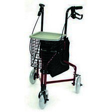 3-Wheel Aluminum Rollator with Basket (Red)