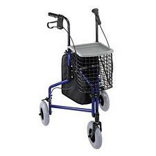 3-Wheel Aluminum Rollator with Basket (Blue)