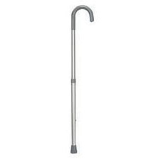 Hi-Lo Adjustable Aluminum Cane with Standard Vinyl Grip - Silver