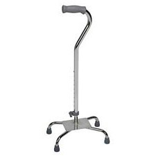 Adjustable Quad Cane (Large, Silver)