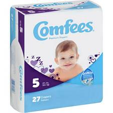 Comfees Diapers - Juvenile Size 5, Over 27 Lbs (27/Pack)