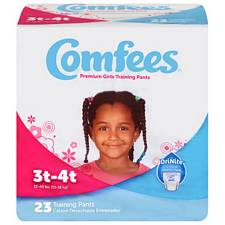 Comfees Training Pants for Girls - Size 3T-4T, 32-40 Lbs (23/Pack)