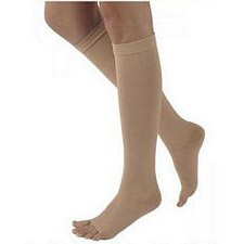 500 Natural Rubber Series - Unisex Calf-High Open Toe Stockings - 30 - 40mmHg