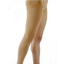500 Natural Rubber Series - Unisex Thigh-High Open Toe Stockings w/ Waist Attachment - 40 - 50mmHg