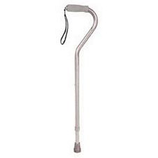 Adjustable Aluminum Cane with Offset Cushioned Grip Handle and Wrist Strap
