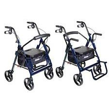 Duet Blue Transport Wheelchair Rollator Walker (Blue)