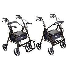 Duet Transport Wheelchair Rollator Walker (Black)