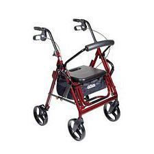 Duet Transport Wheelchair Rollator Walker (Burgundy)