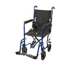 Lightweight Aluminum Transport Wheelchair (Blue, 17 in. Seat Width)