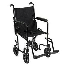 Lightweight Aluminum Transport Wheelchair (Black, 19 in. Seat Width)