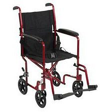 Lightweight Aluminum Transport Wheelchair (Red, 19 in. Seat Width)