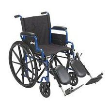 Streak Wheelchair w/Flip Desk Arms & Elevate Legrest, Blue (18 in. Seat)