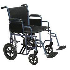 Bariatric Heavy Duty Wheelchair w/ Swing Footrest, Blue (20 in. Seat)