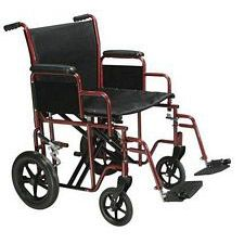 Bariatric Heavy Duty Wheelchair w/ Swing Footrest, Red (20 in. Seat)