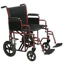 Bariatric Heavy Duty Wheelchair w/ Swing Footrest, Red (22 in. Seat)