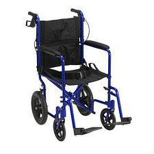 Expedition Blue Transport Wheelchair w/ Hand Brakes, Blue