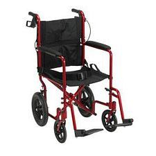 Expedition Red Transport Wheelchair w/ Hand Brakes, Red