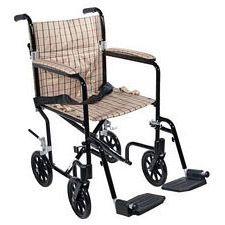 19 in. Flyweight Lightweight Wheelchair, Tan Plaid