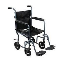 Flyweight Transport Wheelchair w/ Removable Wheels, Blue