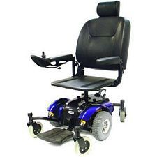 Intrepid Mid-Wheel Power Wheelchair w/ 20 in. Pan Seat, Blue