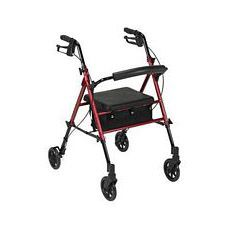 Adjustable Height Red Rollator with 6 in. Wheels