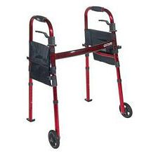 Portable Folding Walker w/ 5 in. Wheels & Fold up Legs