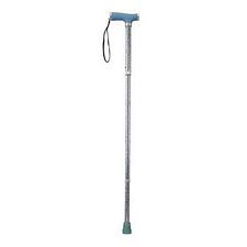 Folding Cane w/ Light Blue Print and Gel Grip