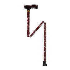 Adjustable Folding Cane w/ T Handle, White Dot