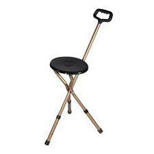 Adjustable Height Folding Lightweight Cane Seat in Bronze w/Black