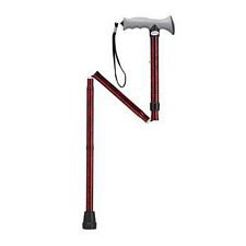 Adjustable Lightweight Folding Cane w/ Gel Grip in Red Crackle