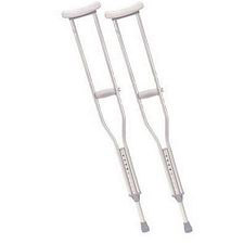 Tall Adult Crutches w/ Underarm Pad & Handgrip, Gray