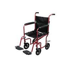 Flyweight Transport Wheelchair w/Removable Wheels,Red