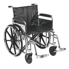 Sentra Wheelchair w/Full Arms & Swing Foot Rest (22 in., Chrome)
