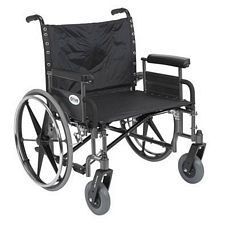 Sentra Heavy Wheelchair w/Detach. Full Arms (26 in., Chrome)