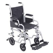 PolyFly Transport Chair w/Swing Footrest (16 in., Silver)