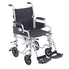 PolyFly Transport Chair w/Swing Footrest (18 in. Silver)