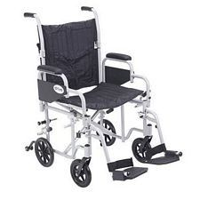 PolyFly Transport Chair w/Swing Footrest (20 in. Silver)