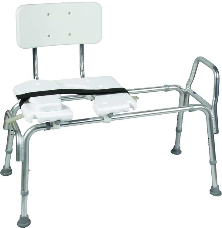 Heavy-Duty Sliding Transfer Bench w/ Cut-Out Seat - Bathtub and ...